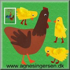Hønen og kyllingerne er fra min bog Året Rundt Med Hænder Og Fødder som jeg udgav i 2012. I går fik i vejledningen til kyllingerne og i dag får i så vejledningen til hønen.  Klik ind på bloggen, se nærmere på hønen, læs vejledningen og find skabelonerne. Husk at give mig noget credit når du bruger mine ideer. Her er så hånd og fod hønen:  http://agnesingersen.dk/blog/hoenekyllinger Easy kids crafts - Kinderbastelideen