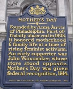 Philadelphia is the mother of Mother's Day, thanks in large part to century entrepreneur John Wanamaker.The first Mother's Day celebrations occurred simultaneously in Philadelphia and West Virginia on May In Memory of my Mom, EHM Anna Jarvis, Road Trip, Brotherly Love, Interesting History, Interesting Facts, Women In History, History Facts, West Virginia, Happy Mothers Day