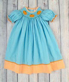 Aqua Gingham Pumpkin Bishop Dress - Infant, Toddler & Girls