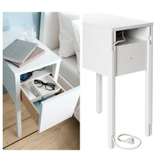 {nordli nightstand | not sure this would work style-wise with the tufted bed, but seriously...how beyond awesome is the in-drawer charging with hidden cable management???} #ikea