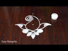 peacock rangoli design with 5 dots // small daily Kolam Rangoli Designs Diwali, Kolam Designs, Peacock Rangoli, Blouse Designs Silk, Beautiful Rangoli Designs, Simple Rangoli, Creative Video, Dots, Make It Yourself