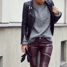 leather jacket + grey knit sweater