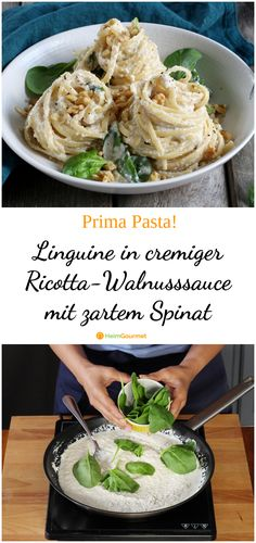 Linguine in creamy ricotta and walnut sauce with tender spinach .- Linguine in cremiger Ricotta-Walnusssauce mit zartem Spinat … Linguine in creamy ricotta and walnut sauce with tender spinach # creamier sauce - Pasta Linguini, Queso Ricotta, Ricotta Pasta, Walnut Sauce, Healthy Food Recipes, Spinach Recipes, Sauce Crémeuse, Cheap Dinners, Gourmet