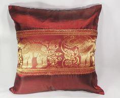 1 Piece Red Sofa back elephant cushion Pillow Cover  16.5x16.5 in Handmade #Handmade