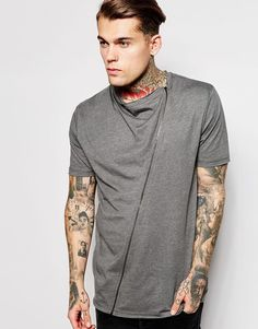 ASOS BRAND ASOS Longline T-Shirt With Drape Neck And Zip - Click link for product details :)