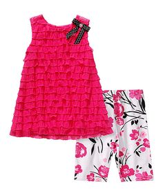 Look at this Sweet Heart Rose Fuchsia Tiered Dress & White Floral Leggings - Infant on #zulily today!