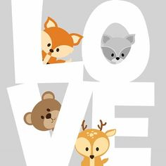 Set of 4 Woodland Animal Nursery Signs Nursery Decor Baby Shower Gift or Baby Décor nursery accessories Love Frames, Frames On Wall, Framed Wall Art, Art Frames, Baby Room Art, Nursery Art, Nursery Decor, Nursery Signs, Animal Nursery