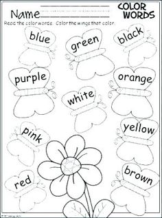 Color Words Activity Free spring butterfly coloring page. Students color the butterfly wings to match the words.Free spring butterfly coloring page. Students color the butterfly wings to match the words. Kindergarten Colors, Preschool Colors, Kindergarten Literacy, Preschool Learning, Kindergarten Worksheets, Preschool Activities, Teaching, Preschool Homework, Color Worksheets For Preschool