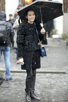 at NYFW: Battling the snow with umbrella in hand, and the most luxurious of outerwear.