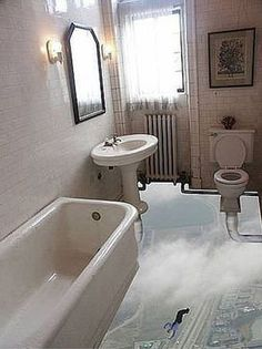 Floating Bathroom 3D Floor Decal