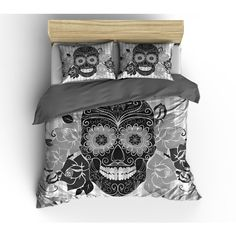 Luxe Weight Skull Bedding Sugar Skull Duvet Cover Comforter Cover... ($124) ❤ liked on Polyvore featuring home, bed & bath, bedding, duvet covers, grey, home & living, twin duvet, queen duvet cover set, king duvet set and queen bedding sets