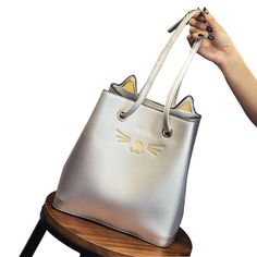 Cheap bag bag, Buy Quality bag polo directly from China bag candies Suppliers: 2017 Silver Bag Famous Brand Cute Cat Design Designer Handbags High Quality Women Messenger Bags String Bucket Bags Shoulder Bag