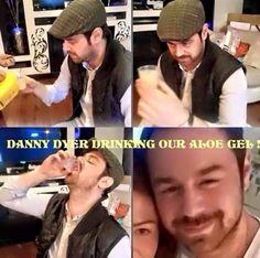 Danny drinking his aloe gel