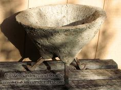 Hypertufa Planter with old railroad spikes....guess where we have to go to get those, tray...