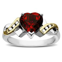 Ruby Swish Ring in Sterling Silver and 14K Gold with Diamond Accents so pretty