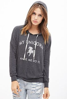 Unicorn Excuse Graphic Hoodie | FOREVER21 - 2000138102
