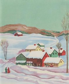 VTG 1940'S SNOWY CHRISTMAS COUNTRY TOWN VILLAGE MOUNTAINS SCENE GREETING CARD | eBay Vintage Greeting Cards, Vintage Christmas Cards, Vintage Holiday, Christmas Greeting Cards, Christmas Greetings, Retro Illustration, Christmas Illustration, Christmas Town, Merry Christmas