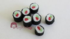 Fimo Canes Sushi  Tutorial aquí : https://www.youtube.com/watch?v=Q-feMRHpxAc