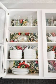 Holiday Home Tour: Casa Verde Inside Kitchen Cabinets, Kitchen Redo, Paint Inside Cabinets, Contact Paper Kitchen Cabinets, Open Cabinet Kitchen, Cottage Kitchen Shelves, Rental Kitchen, Kitchen Walls, Red Kitchen