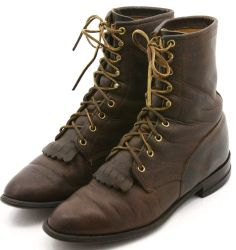 Justin Mens Cowboy Boots Size 8.5 D Brown Oiled Leather Western Lace Up USA #lacer #cowboyboots #boots #deals #style