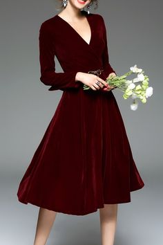 Blueoxy Burgundy Long Sleeve Velvet Midi Dress | Midi Dresses at DEZZAL