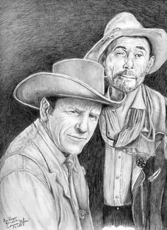 """""""Mat & Festus"""" Graphite portrait done for my husband's Father's Day. """"Gunsmoke"""" has always been a favorite! """"Happy Father's Day"""", Roger! by connie baten"""