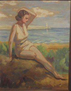 Vintage ART DECO Woman Posing in SWIMSUIT by BEACH Ocean Original Oil c.1930s #Impressionism