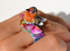 OOAK Robin Ring Treasure Keeper, Polymer Klay, Nesting Robin Statement Jewelry Collectable #Birds Art Rings, Adjustble Copper Band  Handmade