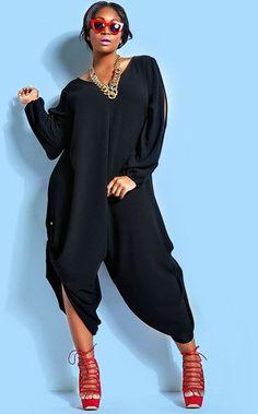 Black HisandHerFashion Trendy V-Neck Long Sleeve Cut Out Plus Size Jumpsuit