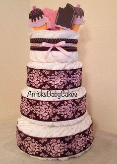 The Pink Mocha Ice Cream 4 Tier Baby Girl by ArricksBabyCakes