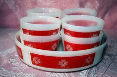 "VINTAGE FEDERAL GLASS (8) CUSTARD CUPS, (1) 8"" X 2"" CASSEROLE DISH, RED"