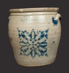 "Sold $ 75 Two-Gallon Stoneware Jar with Stenciled Cobalt Decoration, Stamped ""F.H. COWDEN / HARRISBURG,"" PA origin, circa 1880, ovoid jar with tooled shoulder, tiered rim, and applied lug handles, decorated with a stenciled geometric design. Two rim chips. Staining to surface. Light wear to both handles. Series of tight lines to side of jar under one handle. A few faint surface lines under opposite handle, not visible on interior. Faint Y-shaped surface line on underside, not visible on…"