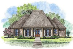Acadian style house plan, The Avondale, Madden Home Design, 4 bedrooms, 2 1/2 baths, 2164 square feet living area, 3338 sq ft total; width 61' depth 83'11