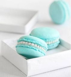 """**I will never make macarons but these """"Tiffany Blue"""" macarons are SO pretty! Macrons with orange blossom buttercream, finished with pearl drops. ~~ **Macarons are meringue based and made of egg white, almond meal, sugar, and food coloring. via www.blogilates.com/recipe-index/macaroons-vs-macarons-wait-what#bb0YSS7hZWxKHyhZ.99"""