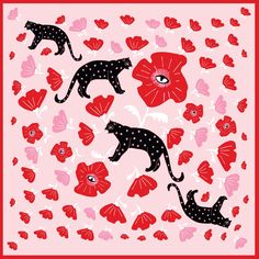 POPPY & POLKA CAT  - Silk Medium Square Scarf