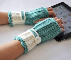 Crochet  Fingerless Glove Wrist Warmer Gauntlet by TempoDesigns,