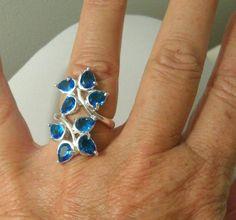 """Size 8 Beautiful 1.25""""L x 5/8""""W Leaves Blue Topaz Gems 925 Silver Ring Jewelry   #Leaves #help #retweet #follow #repin  http://stores.ebay.com/jewelryandthingsroseandersen5?_rdc=1"""
