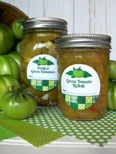 Country Quilt Pickled Green Tomato & Relish Canning Labels for home preserved food in mason jars | Shop for more canning labels on CanningCrafts.com | #canning #foodpreservation #preserving #pickledgreentomatoes #greentomatoes #tomato #relish Green Tomato Relish, Pickled Green Tomatoes, Tomato Jam, Tomato Chutney, Canning Tomatoes, Mason Jar Gifts, Mason Jars, Canning Jar Labels, Country Quilts