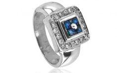 """Diamantový prsteň ,,Blue lagoon"""" s prírodnými zafírmi"""
