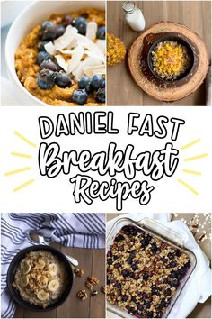 The Daniel Fast is a healthy way to reset your eating, and we do it without sacrificing flavor! Try these vegan recipe with no added sugar and you'll love the way you feel when eating healthy! Daniel Fast Breakfast, Fast Food Breakfast, Breakfast Bars, Breakfast Recipes, Clean Eating Recipes, Eating Healthy, Blueberry Banana Smoothie, Daniel Fast Recipes, Smoothies With Almond Milk