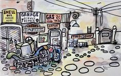 ink,waterkolor-44x30 cm. 2020 Tyre Shop, Harley Davidson, Ink, Ink Art