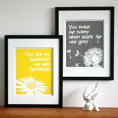 Nursery art childrens wall art You are my sunshine by PaperLlamas, $38.00