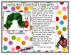 Close Reading in Kindergarten -example using Very Hungry Caterpillar Readers Workshop Kindergarten, Kindergarten Crayons, Kindergarten Language Arts, Reading Workshop, Kindergarten Literacy, Reading Activities, Teaching Reading, Teaching Ideas, Literacy Activities