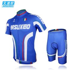 ARSUXEO Men Mountain Bike Short Sleeves Jersey + 3D Coolmax Padded Shorts Set Road Bike Bicycle Cycling Wear Clothing Suit