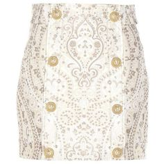Balmain Jacquard Miniskirt ($2,075) ❤ liked on Polyvore featuring skirts, mini skirts, balmain, white, white skirt, short skirts, mini skirt, short mini skirts and balmain skirt