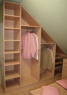 perfect closet/storage idea for an attic or space under stairs Attic Closet, Master Closet, Closet Bedroom, Closet Space, Corner Closet, Attic House, Attic Wardrobe, Attic Office, Attic Playroom