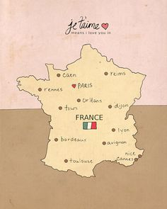 Wall Art Poster European French Map  I Love You in by LisaBarbero, $20.00