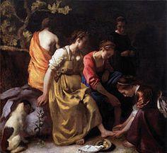 Johannes Vermeer - Diane et ses compagnes ou Diane et ses nymphes est une peinture du maître hollandais Johannes Vermeer conservée au Mauritshuis de La Haye (Pays-Bas). Le tableau représente Diane entourée de nymphes. Contrairement aux habitudes, cette toile représente les nymphes vêtues. L'influence de Rembrandt est évidente, particulièrement sa représentation de Bethsabée qui semble avoir servi de modèle à Vermeer.