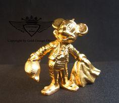 Micky Maus Figur 24 Karat vergoldet,Gold, Gold Plating, 24 K, Vergoldet, Elektro Plating