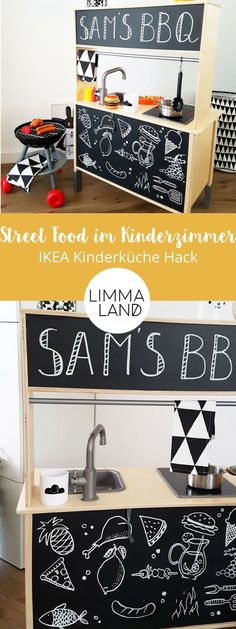 Whether pizzeria, grill or bakery. With the Limmaland foil TAFFLA you pimp your Ikea DUKTIG children Ikea Childrens Kitchen, Ikea Kids Kitchen, Ikea Hack Kids, Ikea Hacks, Kitchenette, Ikea Ringhult, New Swedish Design, Baby Room Decor, Kid Spaces
